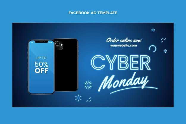 Realistic cyber monday social media promo template