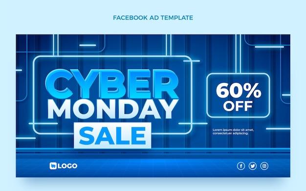 Реалистичный рекламный шаблон в социальных сетях киберпонедельника