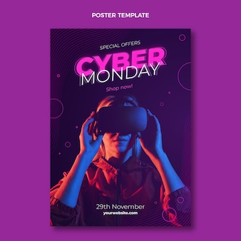 Realistic cyber monday vertical poster template