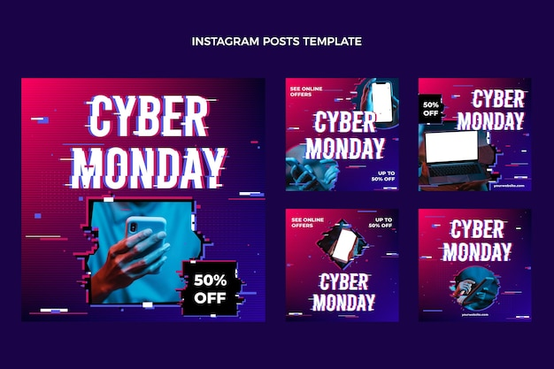 Realistic cyber realistic cyber monday instagram posts collection
