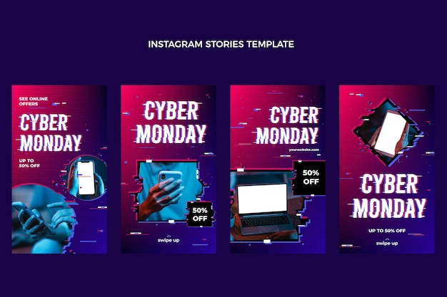 Realistic cyber realistic cyber monday instagram stories collection