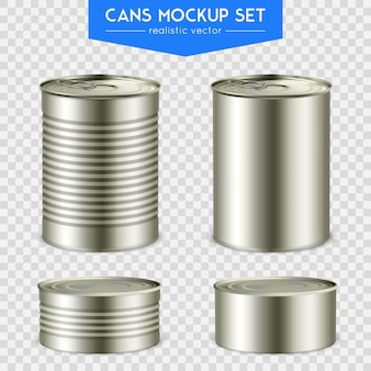 Realistic cylindrical cans set