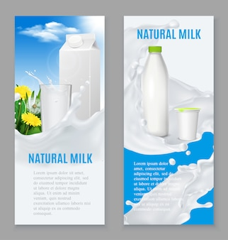 Realistic dairy products banners
