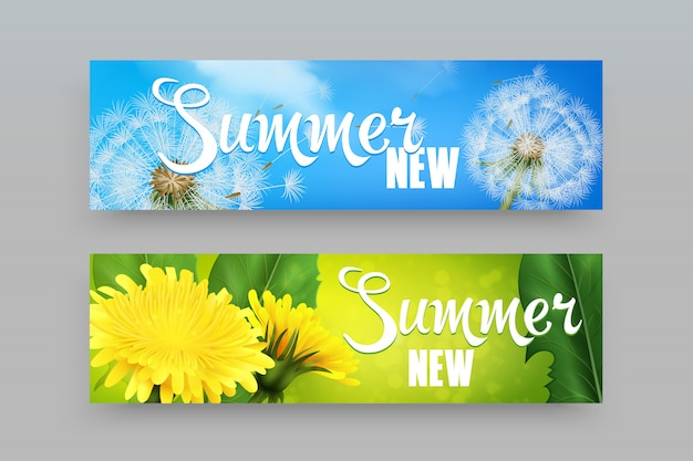 Realistic dandelions banners