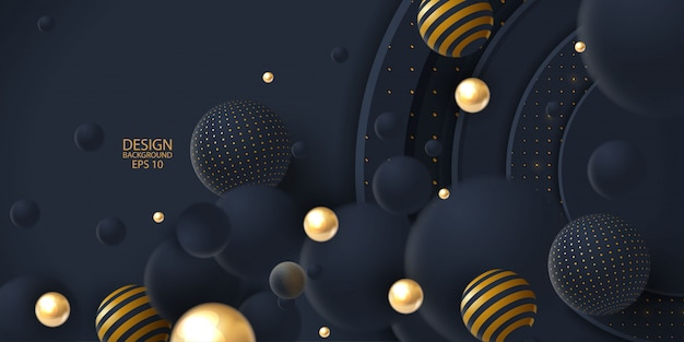 Realistic dark abstract overlap background with 3d sphere
