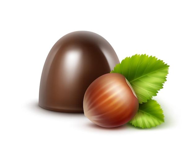 Реалистичные темно-черные горькие шоколадные конфеты с фундуком крупным планом изолированные Premium векторы