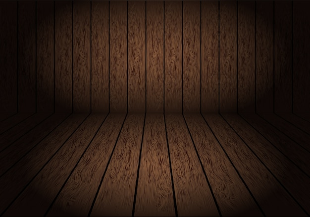Realistic dark brown wood room with dim light background.