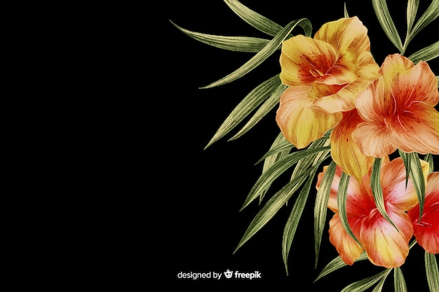 Realistic dark floral background