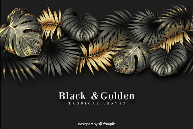 Realistic dark and golden leaves background