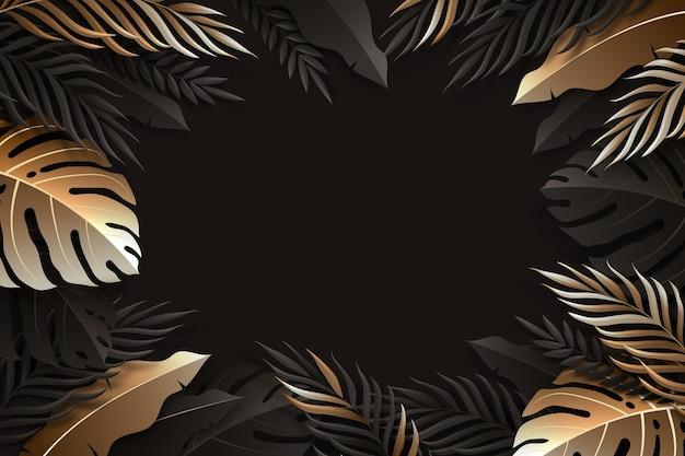 Realistic dark golden leaves background