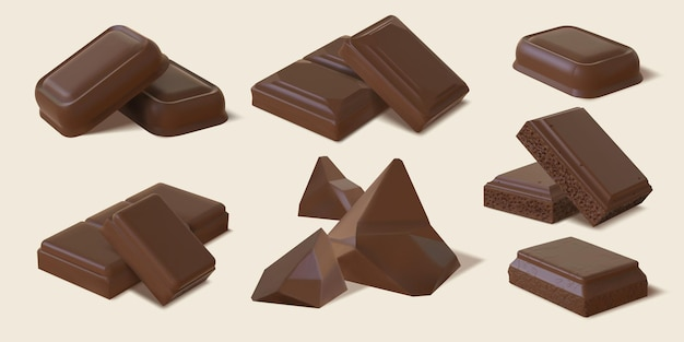 Realistic dark and milk chocolate bar pieces and chunks. 3d bitter cocoa candy, sweet brown bubble chocolate block. snack dessert vector set