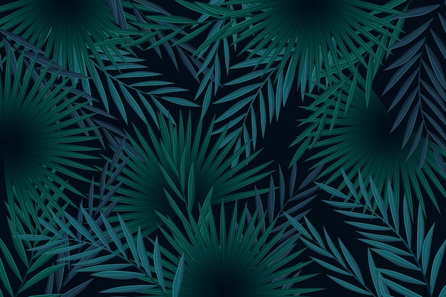 Realistic dark tropical leaves background concept