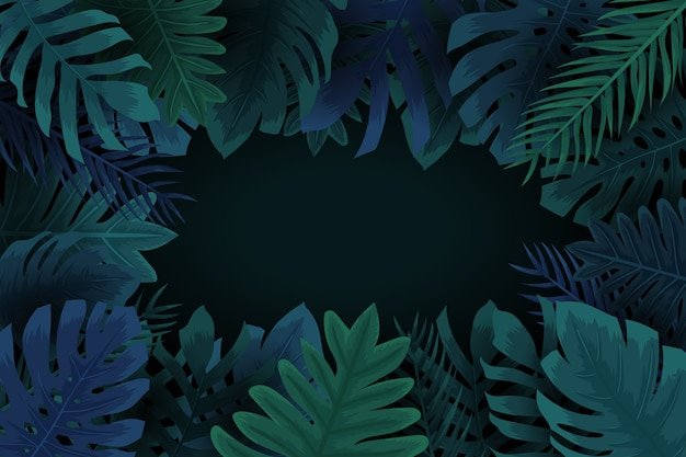 Realistic dark tropical leaves background with copy space