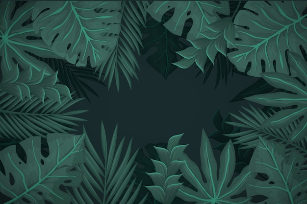 Realistic dark tropical leaves background