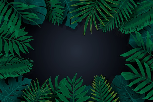 Realistic dark tropical leaves frame background