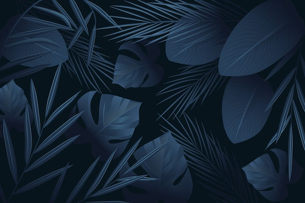 Realistic dark tropical leaves wallpaper theme