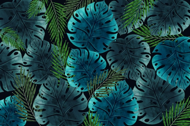 Realistic dark tropical leaves wallpaper