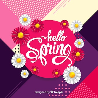 Realistic dasies hello spring background