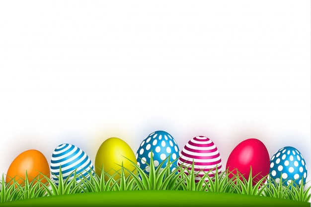 Realistic decorated easter egg green grass