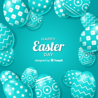 Realistic decorated easter eggs background