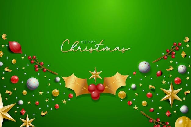 Realistic decoration christmas background