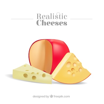Realistic delicious cheeses