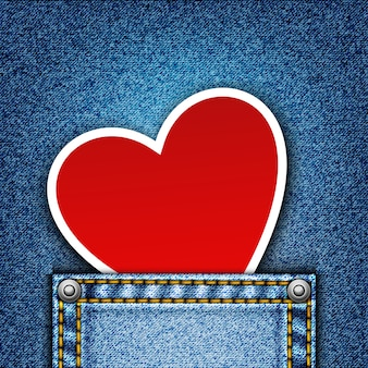 Realistic denim background with heart