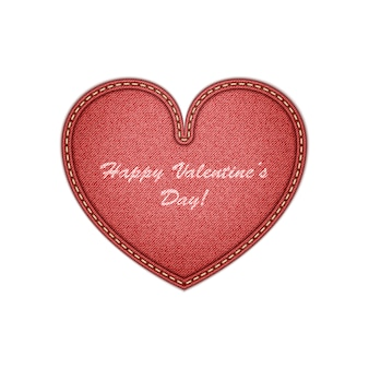 Realistic denim heart valentine's day greeting