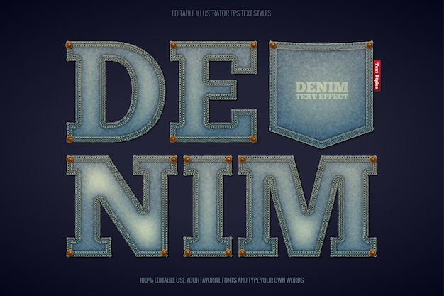 Realistic denim text effect,   and instant text effect