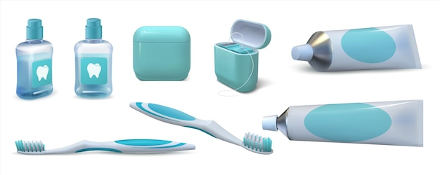 Реалистичная стоматологическая помощь. зубная паста 3d в тюбике, пара зубных щеток, жидкость для полоскания рта и зубная нить. векторный набор изолированных средств гигиены полости рта для очистки полости рта