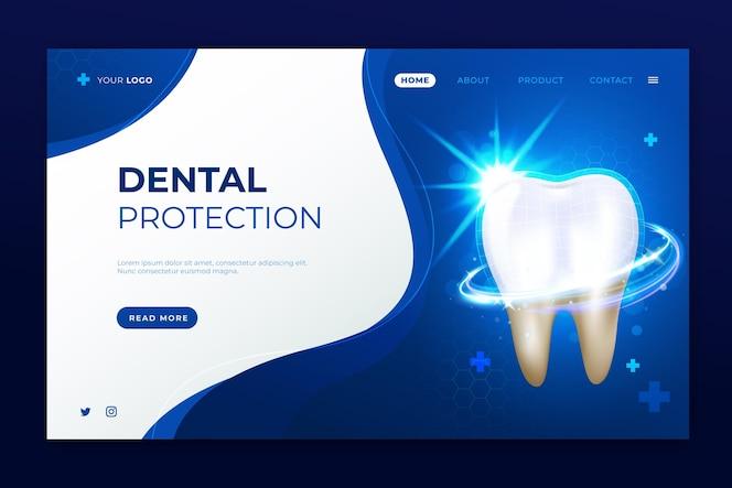 逼真的牙科护理登录页模板