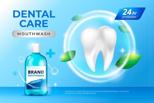 Realistic dental care mouthwash