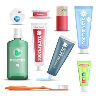 Realistic dental care products set