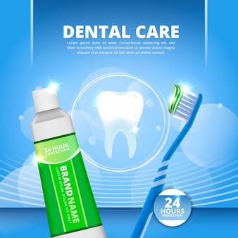 Modello promozionale realistico per la cura dei denti