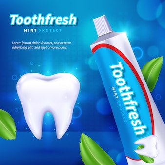 Realistic dental care toothpaste