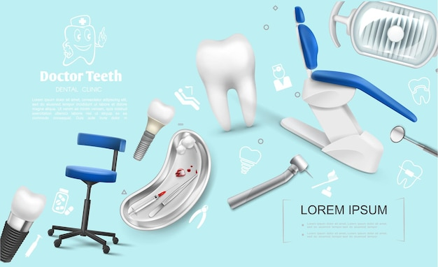 의료 의자와 현실적인 치과 다채로운 템플릿 치과 임플란트 치아 기계 미러 램프 금속 트레이 주사기 후크 뽑아 치아 면화 공