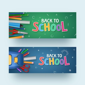 Realistic design back to school banners