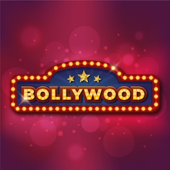 Realistic design bollywood cinema sign