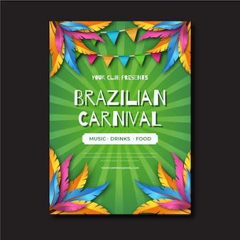 Realistic design for brazilian carnival poster template