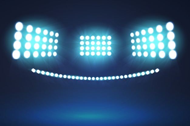 Realistic design bright stadium lights