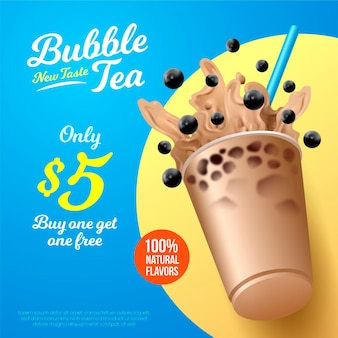 Realistic design bubble tea ad