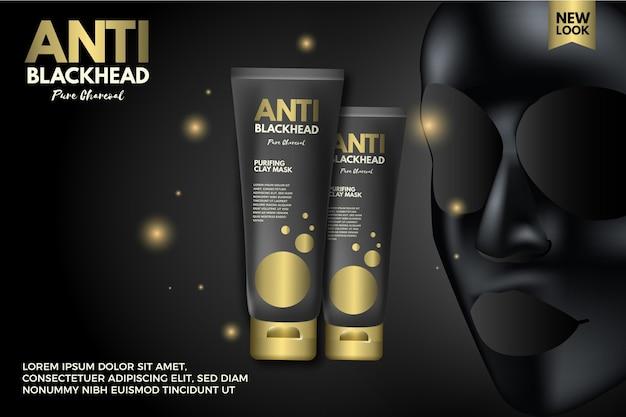 Realistic design charcoal sheet mask ad