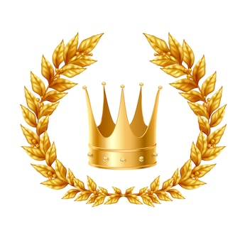 Realistic design concept with golden laurel wreath and crown