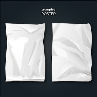 Realistic design crumpled poster effect