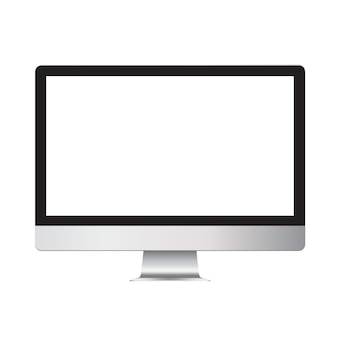 Realistic design of a desktop computer with a blank empty screen. mock up template monitor for landings and presentations.