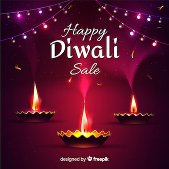 Realistic design diwali sale with candles