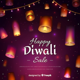 Realistic design diwali sale with lanterns