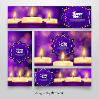 Realistic design diwali web banners