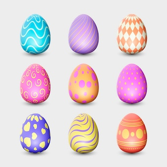 Realistic design easter day egg collection