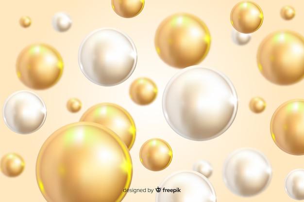 光沢のあるボールの背景を流れる現実的なデザイン